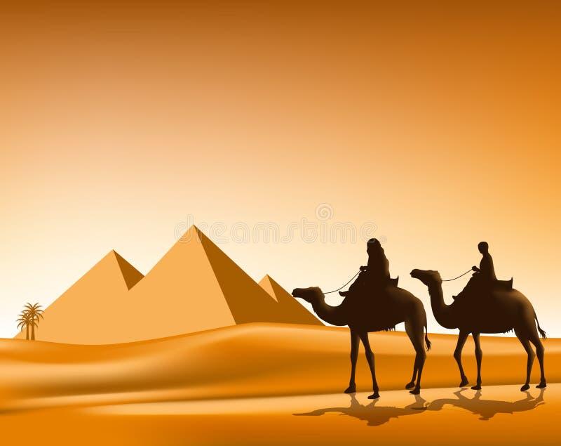 Gruppo di gente araba con la guida del caravan dei cammelli illustrazione vettoriale