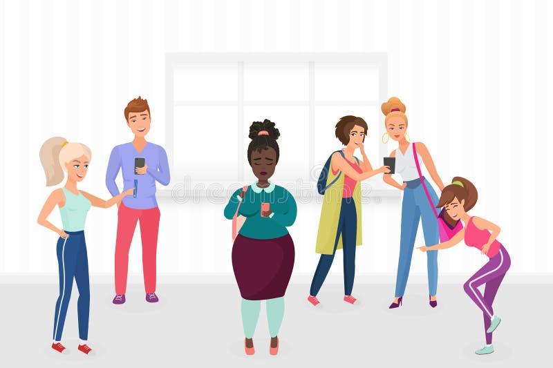 Gruppo di gente atletica degli studenti che opprime, ridente e sparante più l'illustrazione grassa di vettore della donna di colo illustrazione di stock
