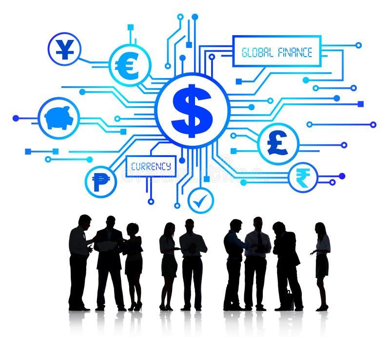 Gruppo di gente di affari che discute finanza globale fotografia stock