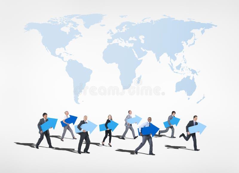 Gruppo di gente di affari che guarda in avanti al futuro illustrazione di stock