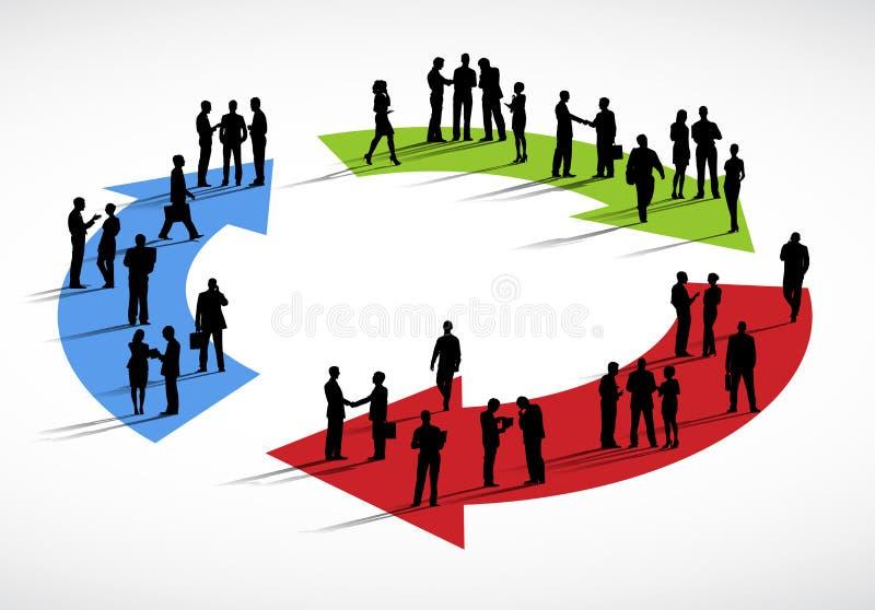 Gruppo di gente di affari che sta sulle frecce royalty illustrazione gratis