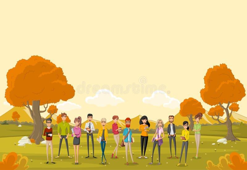 Gruppo di gente di affari del fumetto royalty illustrazione gratis