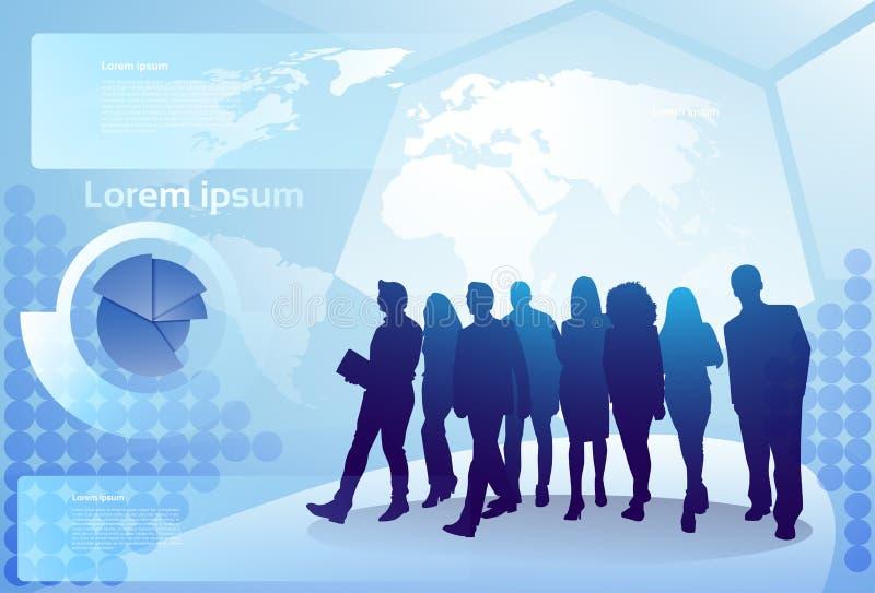 Gruppo di gente di affari della siluetta che cammina sopra le persone di affari Team Concept del fondo della mappa di mondo illustrazione di stock