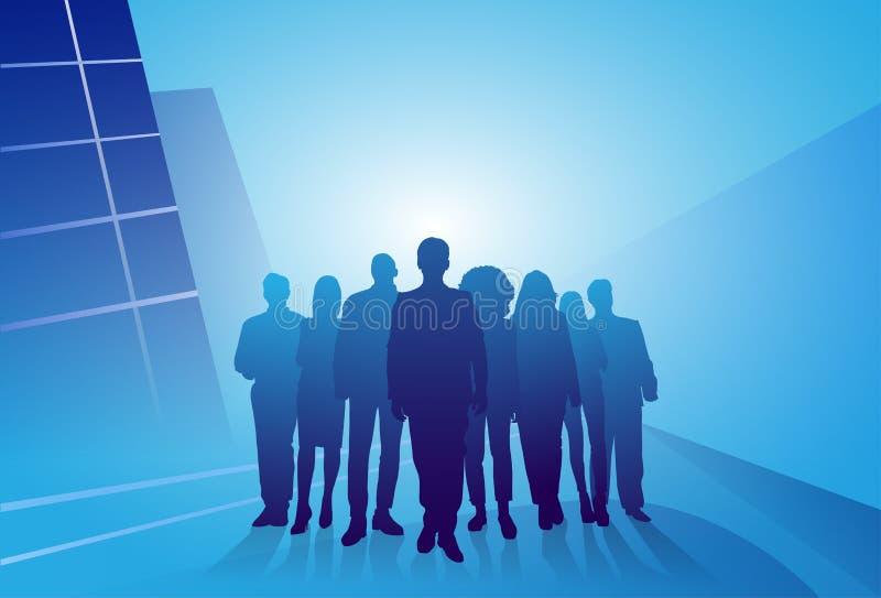 Gruppo di gente di affari delle persone di affari della siluetta sopra fondo astratto royalty illustrazione gratis