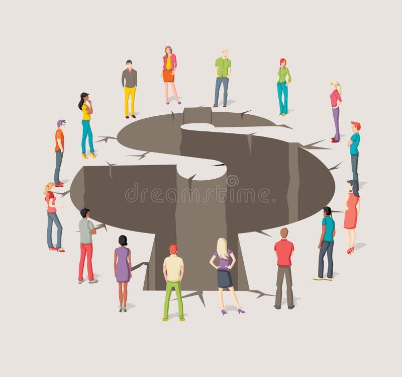 Gruppo di gente di affari intorno al foro con la forma del simbolo dei soldi illustrazione di stock