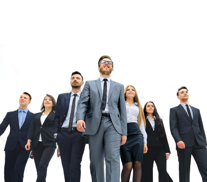Gruppo di gente di affari Isolato sopra fondo bianco fotografie stock