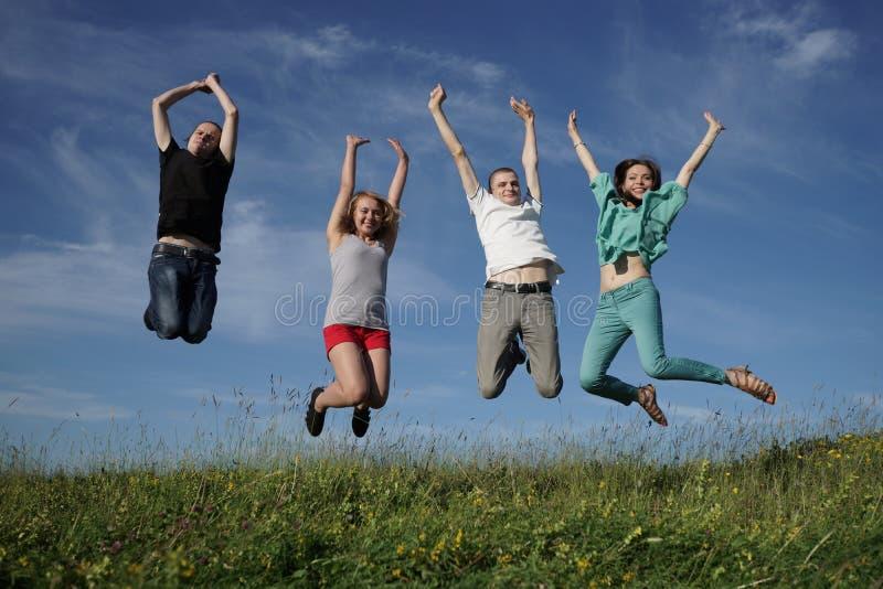 Gruppo di gente di salto sul prato grean immagine stock