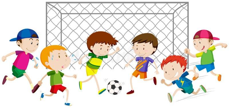 Gruppo di giocar a calcioe dei ragazzi royalty illustrazione gratis