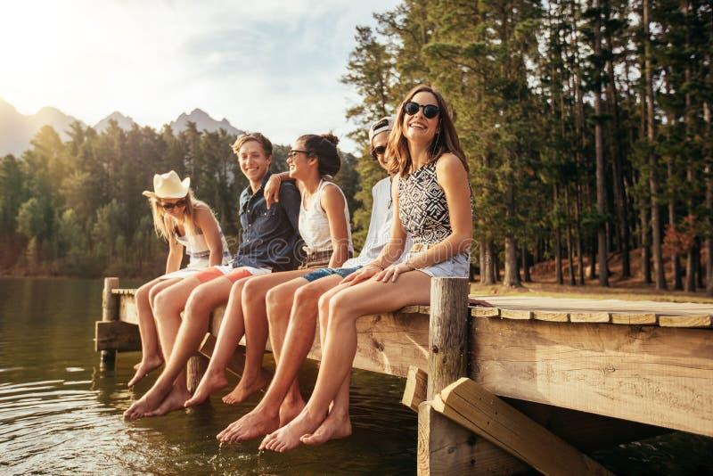 Gruppo di giovani amici che godono di un giorno nel lago immagini stock