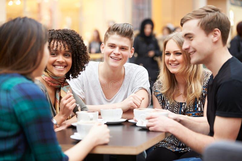 Gruppo di giovani amici che si incontrano in caffè fotografia stock