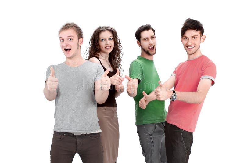 Gruppo di giovani che mostrano pollice su immagini stock libere da diritti
