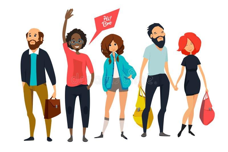 Gruppo di giovani pantaloni a vita bassa I caratteri maschii e femminili nello stile casuale copre Illustrazioni della mascotte d illustrazione di stock