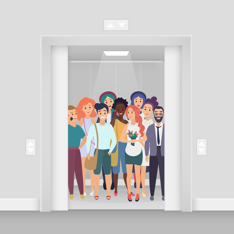 Gruppo di giovani sorridenti con i telefoni, borse, fiori nell'elevatore ammucchiato moderno acceso luminoso con le porte aperte royalty illustrazione gratis