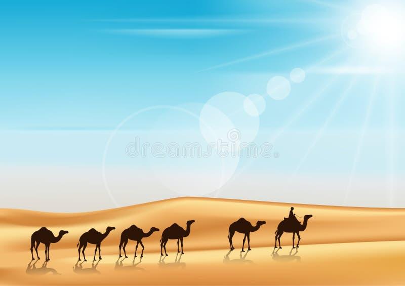 Gruppo di guida del caravan dei cammelli royalty illustrazione gratis
