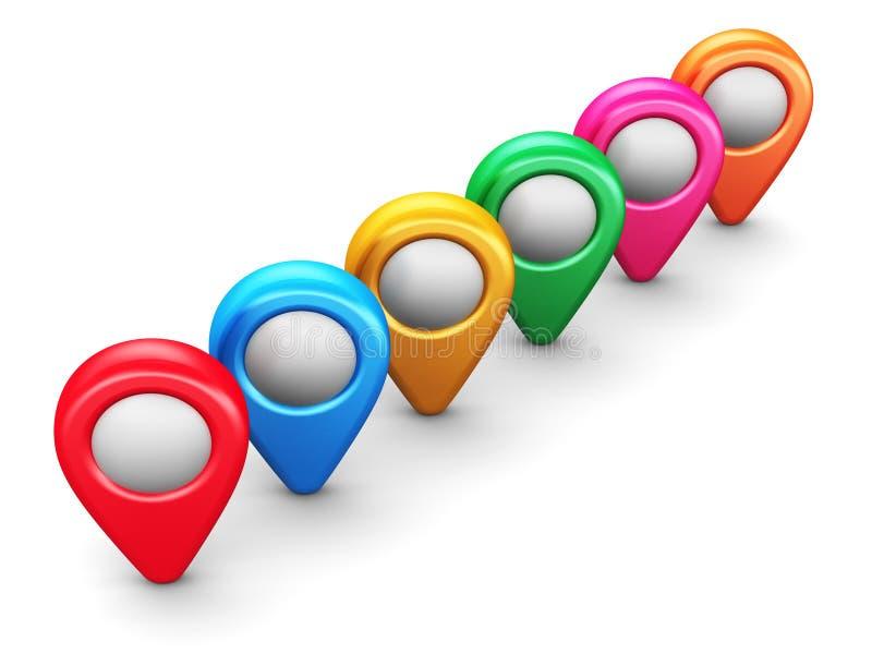 Gruppo di indicatori di posizione della mappa dei colori immagini stock
