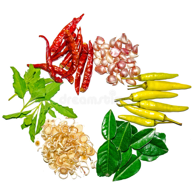 Gruppo di ingredienti e di condimento su fondo bianco immagine stock