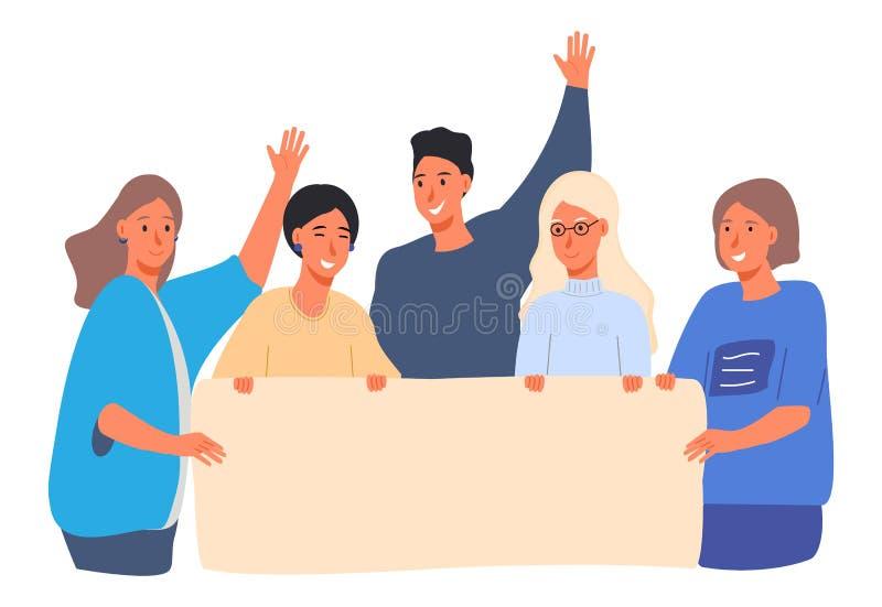 Gruppo di insegna della tenuta dei giovani, manifesto L'uomo e le donne partecipano alla protesta, parata, attivisti, riunione royalty illustrazione gratis