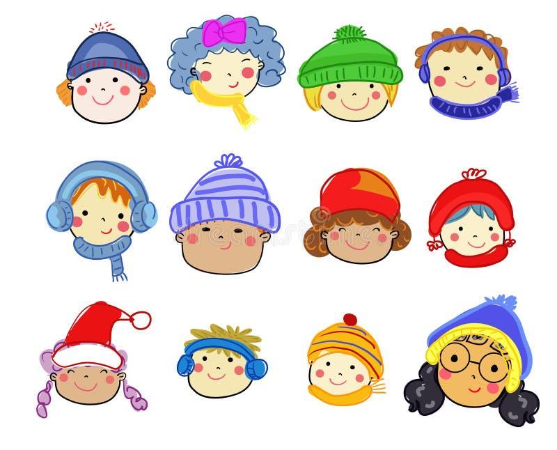 Gruppo di insieme del fronte dei bambini, schizzo di disegno fotografie stock