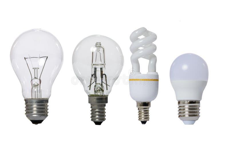 Gruppo di lampade su un fondo bianco fotografia stock libera da diritti