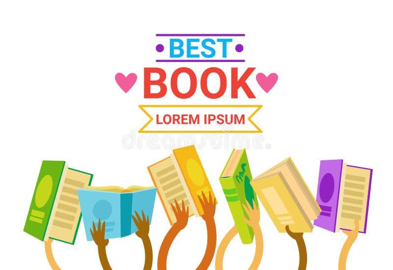 Gruppo di mani che tengono i libri che legge insegna illustrazione di stock