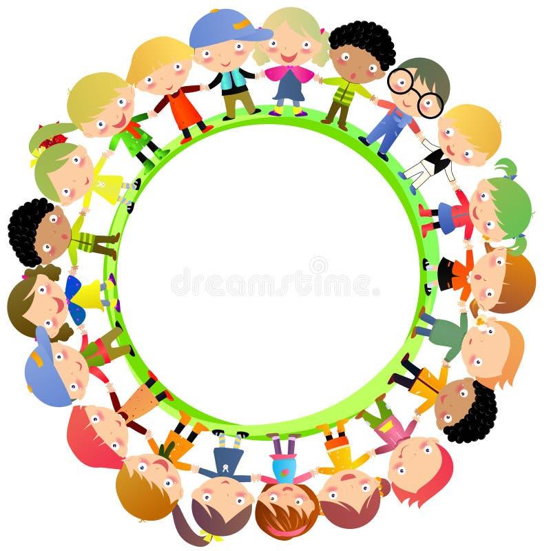 Gruppo di mano dei bambini intorno royalty illustrazione gratis