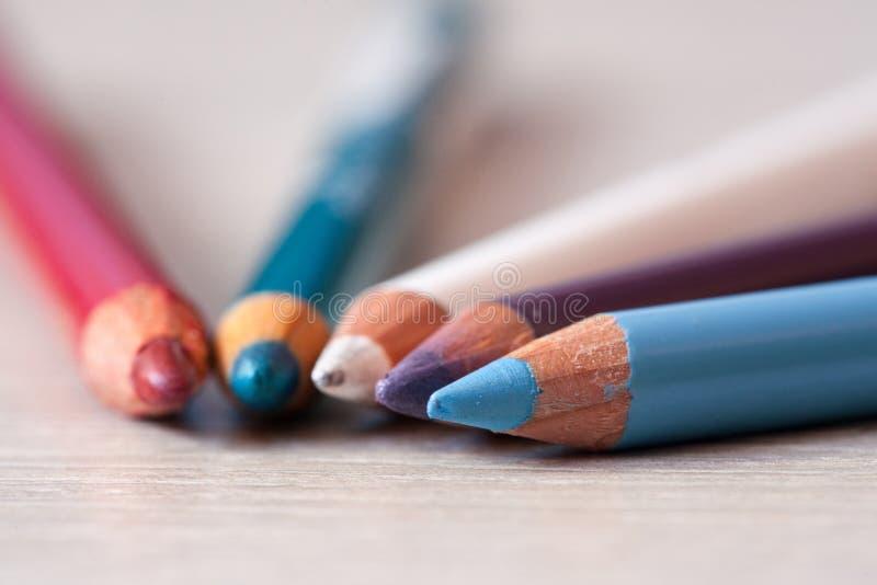 Gruppo di matite cosmetiche Matite con i petali unfocused Matite di trucco immagine stock libera da diritti