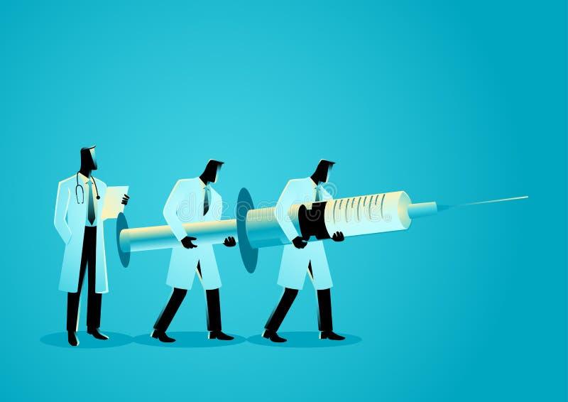 Gruppo di medici che portano ago gigante Concetto di anestesiologia illustrazione vettoriale