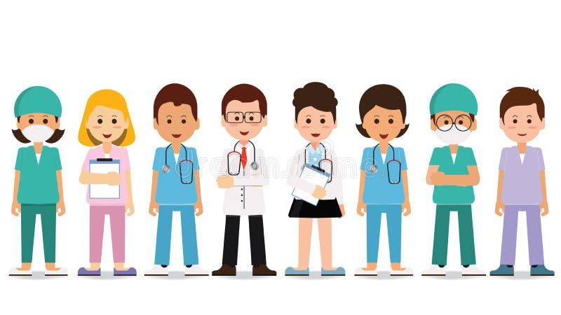 Gruppo di medici isolato su bianco illustrazione di stock