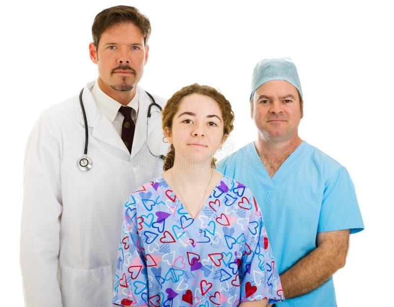 Gruppo di medici serio fotografia stock