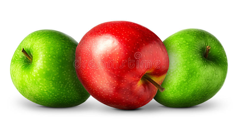 Gruppo di mele rosse e verdi su fondo bianco immagine stock