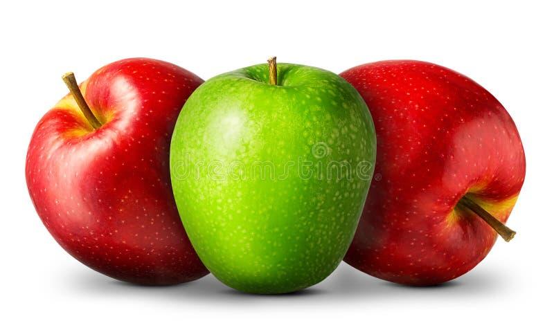Gruppo di mele rosse e verdi su fondo bianco immagini stock