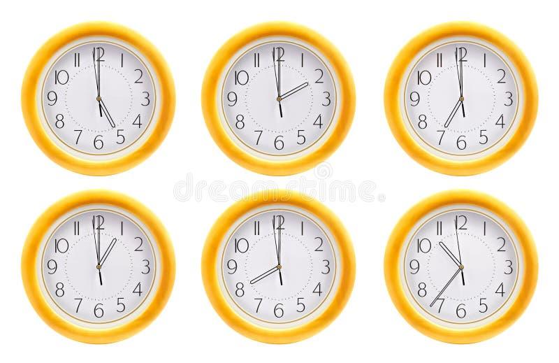 Gruppo di orologi di parete fotografia stock