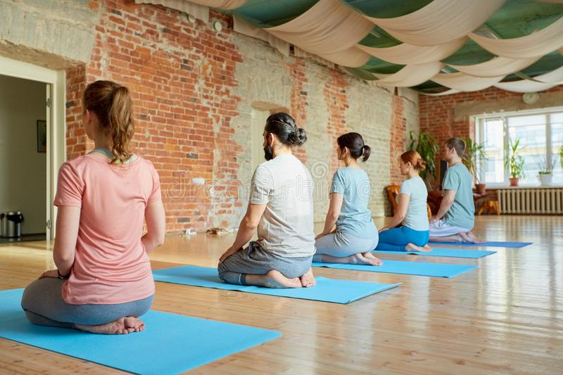 Gruppo di persone che fanno posa di inginocchiamento di yoga allo studio immagine stock