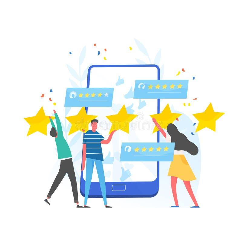 Gruppo di persone che lasciano una valutazione di cinque stelle e smartphone gigante Esperienza del cliente e soddisfazione, risp illustrazione vettoriale