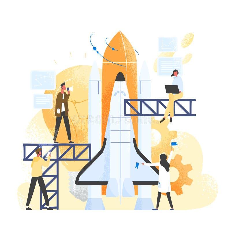 Gruppo di persone che preparano astronave, veicolo spaziale, razzo o navetta per il viaggio nello spazio o la missione Impiegati  illustrazione vettoriale