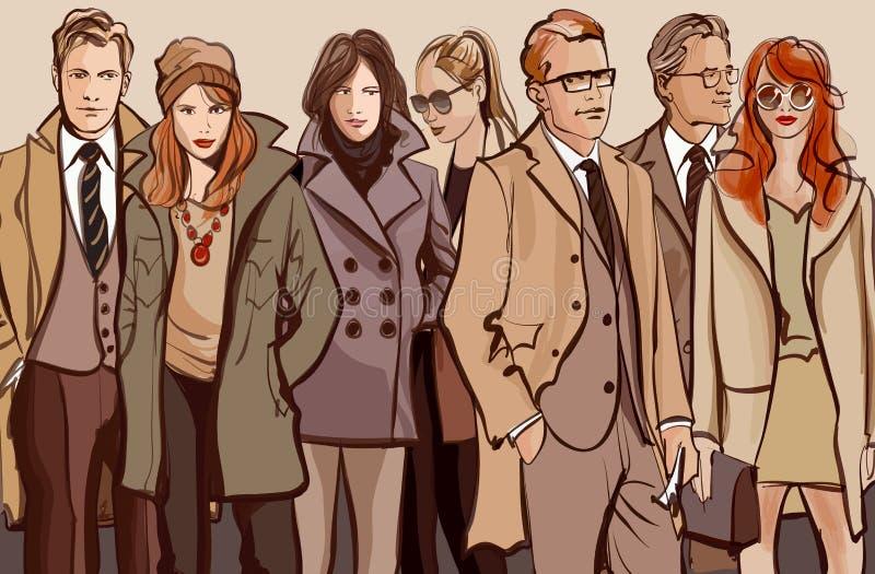 Gruppo di persone che si levano in piedi in una riga illustrazione di stock