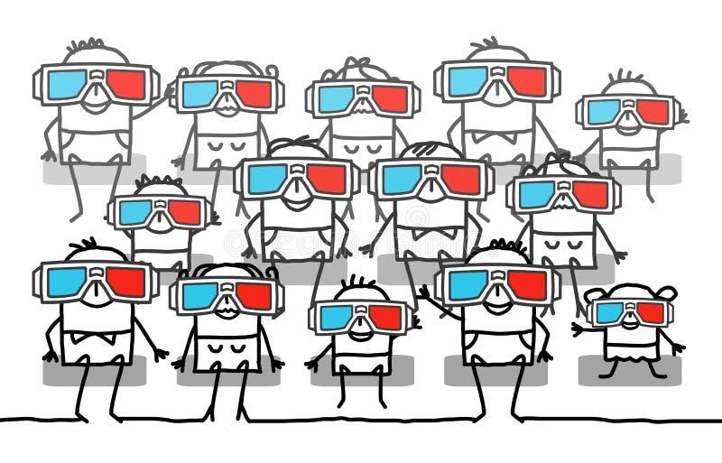 Gruppo di persone con i vetri 3D royalty illustrazione gratis