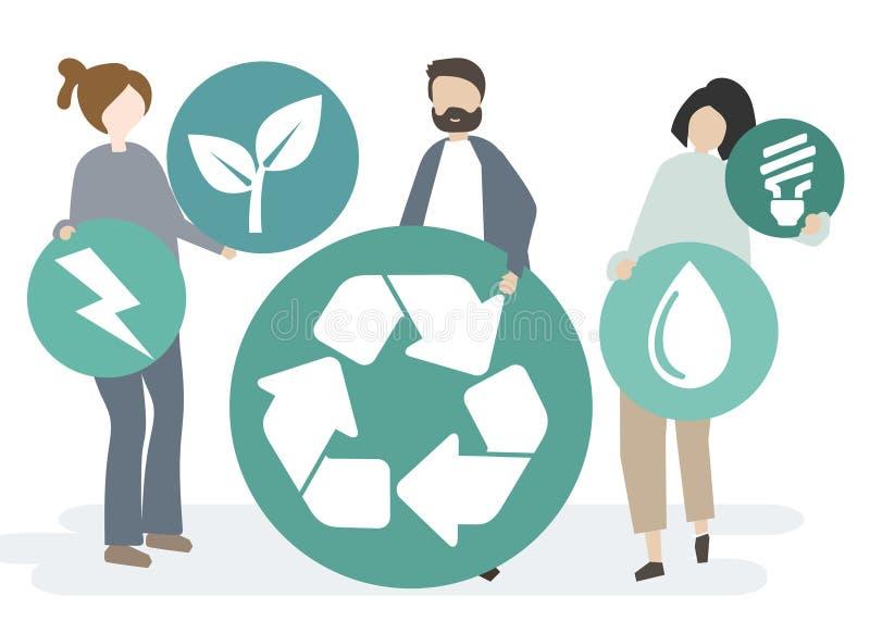 Gruppo di persone con l'icona di riciclaggio illustrazione vettoriale
