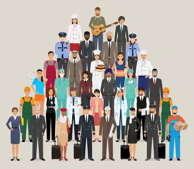 Gruppo di persone con l'occupazione differente Caratteri dei lavoratori e degli impiegati che stanno insieme illustrazione vettoriale