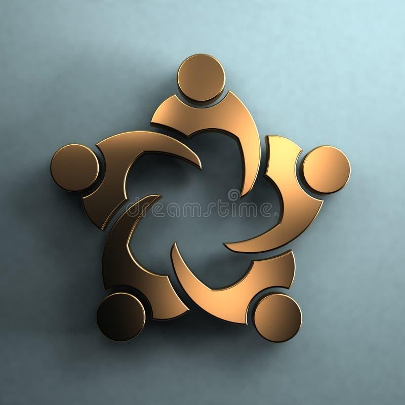Download Gruppo Di Persone 3D In Una Riunione Stile Dorato Illustrazione di Stock - Illustrazione di cooperazione, cerchio: 55353886