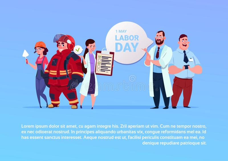 Gruppo di persone del manifesto di festa del lavoro del 1° maggio felice delle occupazioni differenti su fondo royalty illustrazione gratis