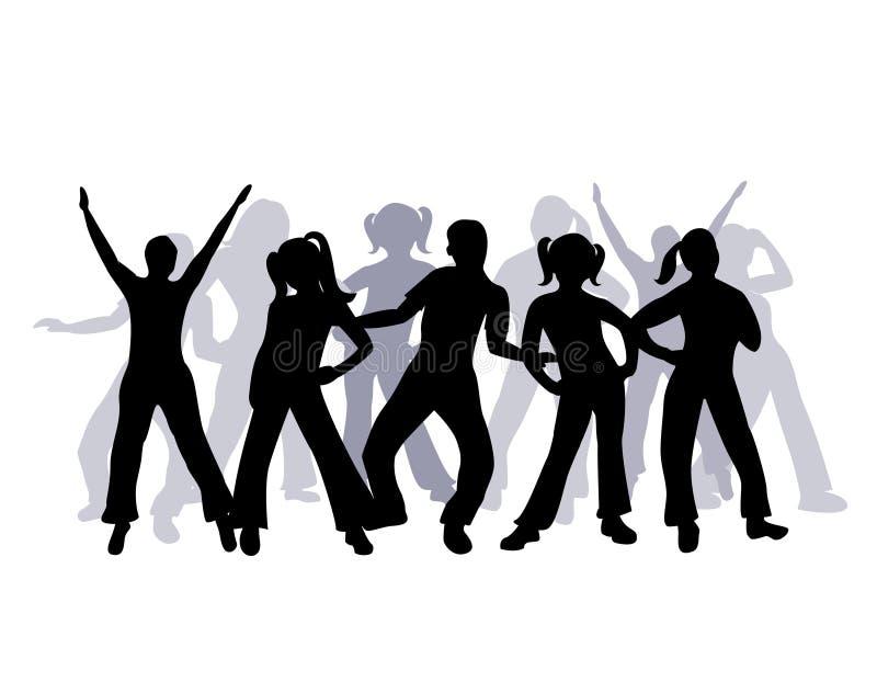 Gruppo di persone della siluetta il dancing royalty illustrazione gratis