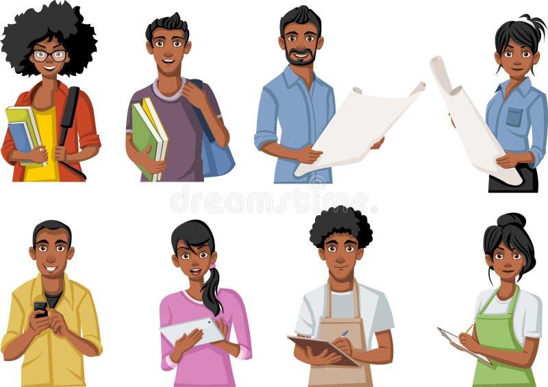 Gruppo di persone di colore del fumetto illustrazione di stock
