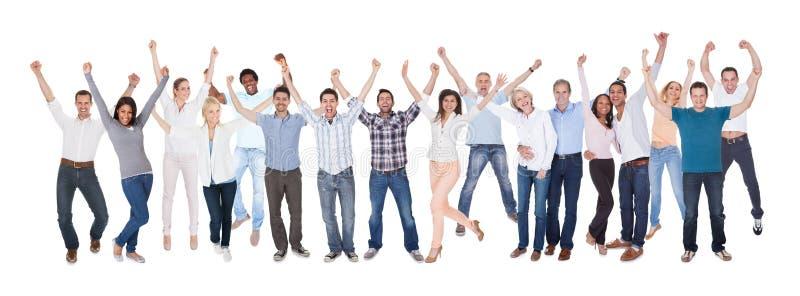 Gruppo di persone felice vestiti in casuale fotografia stock