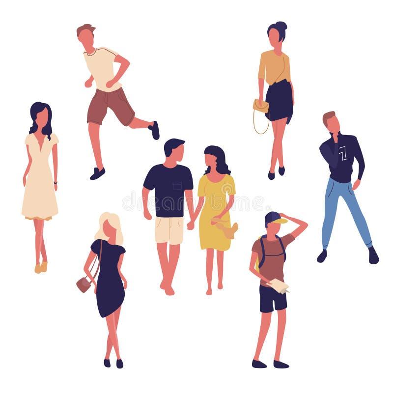 Gruppo di persone i giovani e le donne isolati su fondo bianco Modo ed acquisto Donne nei vestiti, una donna con il ragazzo illustrazione vettoriale