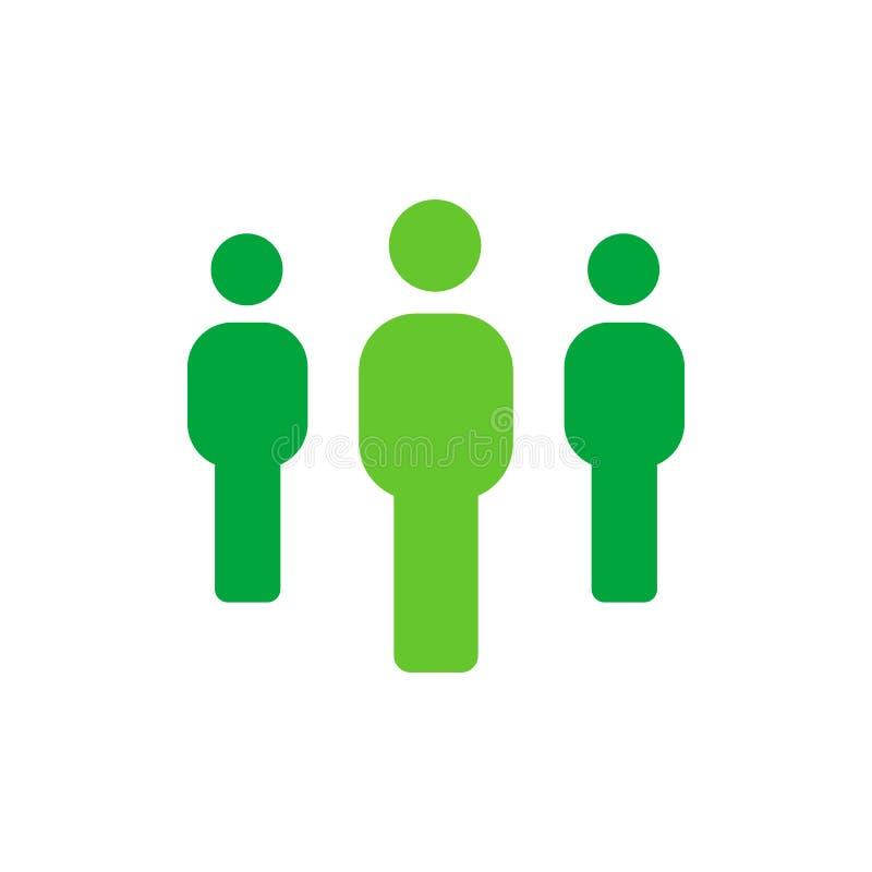 Gruppo di persone - icona di lavoro di squadra o degli impiegati - illustrazione piana di vettore isolata su fondo bianco illustrazione vettoriale
