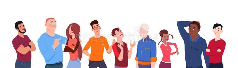 Gruppo di persone il fumetto della corsa della miscela dell'età differente isolato sui diversi uomini moderni dell'insegna orizzo royalty illustrazione gratis
