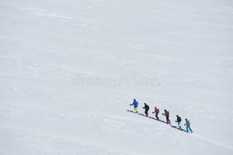Gruppo di persone il ghiacciaio d'esplorazione o la terra nevosa che cammina con le racchette da neve Supporto del massiccio di M fotografia stock libera da diritti