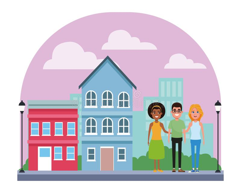 Gruppo di persone il personaggio dei cartoni animati dell'avatar illustrazione vettoriale