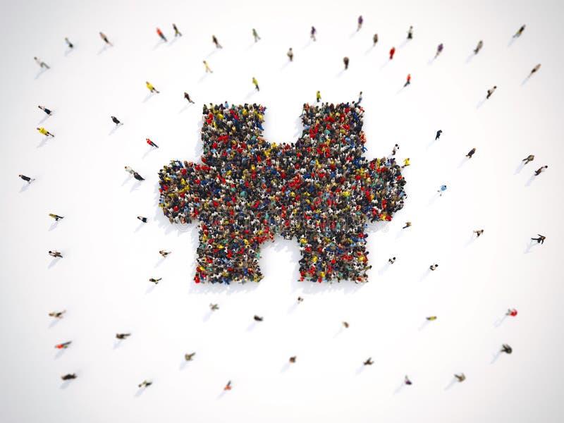 Gruppo di persone insieme per formare un pezzo di puzzle rappresentazione 3d illustrazione vettoriale